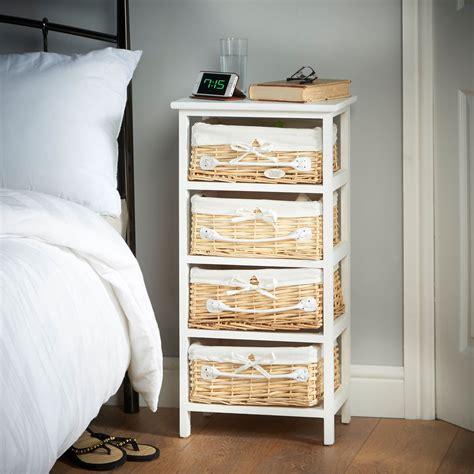 White Bedroom Storage Unit by Vonhaus 4 Drawer Wicker Basket Wood Storage Unit Bedroom