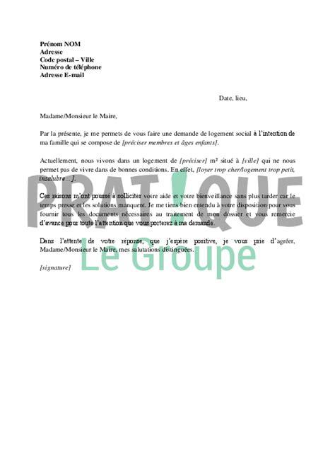 Demande De Logement Hlm Lettre Lettre De Demande De Logement Social Au Maire De Sa Ville Ou Commune Pratique Fr