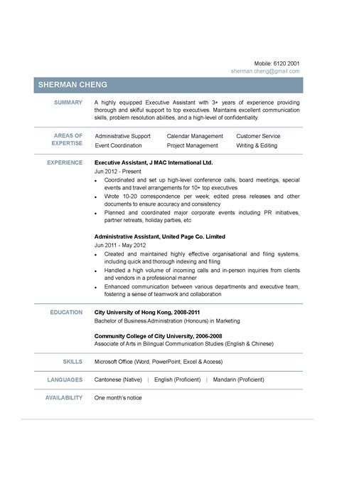Resume Exles Hong Kong Executive Assistant Cv Ctgoodjobs Powered By Career Times