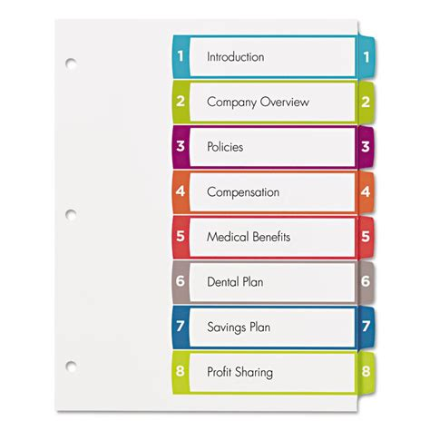 avery ready index template 31 tab ready index dividers 01735501 avery office depot brand