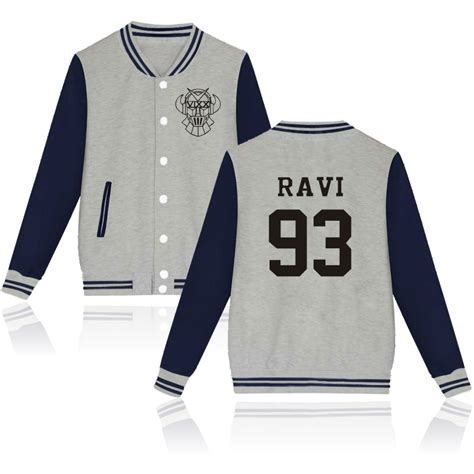 Baseball Jackrt Blackstar Ori Black Grey kpop vixx baseball jacket plus size vixx sweatshirt clothing black gray white vixx