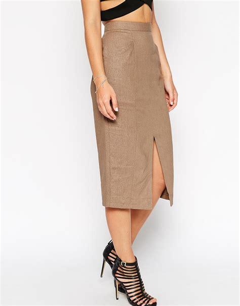 asos linen split front pencil skirt in lyst