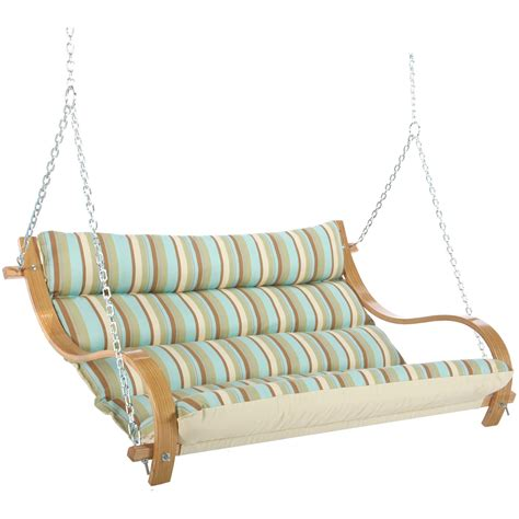 cushioned porch swing spring bay stripe deluxe cushioned double porch swing