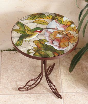 hummingbird garden patio accent table hummingbird flower stained glass top table patio porch