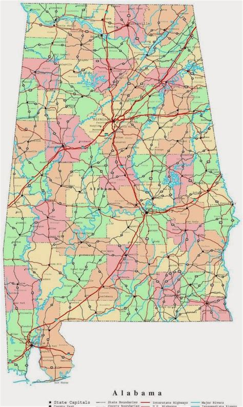 alabama road map state of alabama road map free printable maps