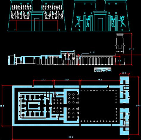 ancient egyptian temple  edfu dwg plan  autocad