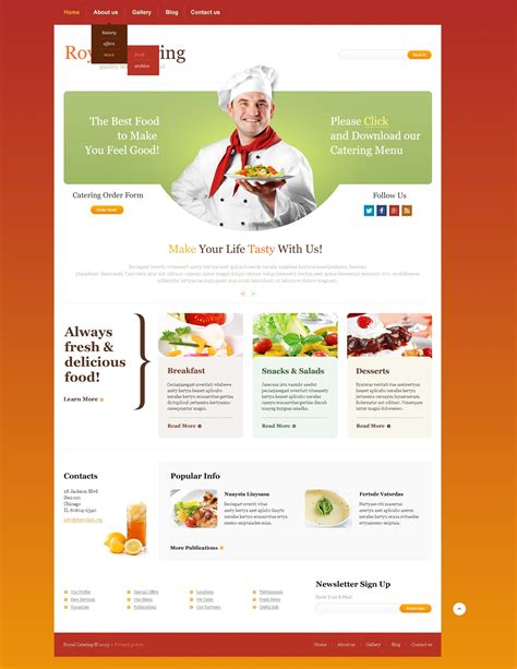 templates for catering website catering responsive website template 44572