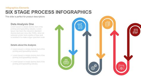 Flat Layout Design six stage process infographics powerpoint keynote template