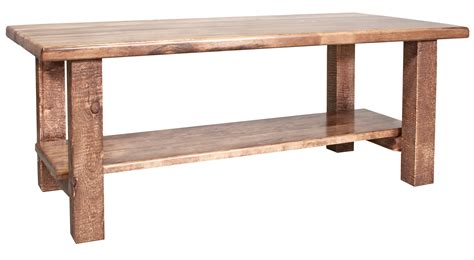 Homestead Timber Frame Coffee Table With Shelf Stained Timber Coffee Table