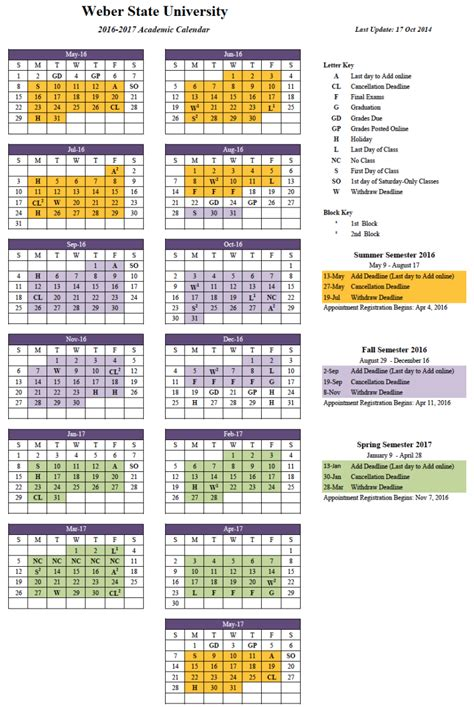 Csu Calendar Csu Academic Calendar Calendar Template 2016