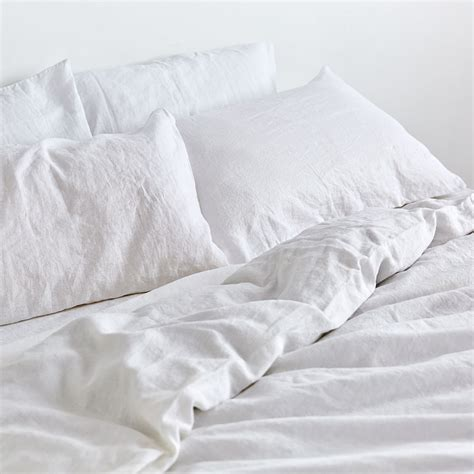 white bed white duver cover 100 linen duvet cover in white in