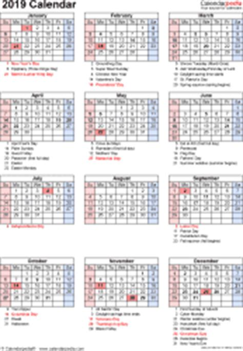 2019 Calendar With Holidays And Observances 2019 Calendar 17 Free Printable Excel Templates