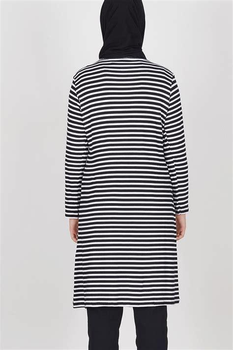 Dress Hitam Tangan Salur sell izza dress salur kecil hitam putih tops hijabenka