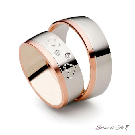Eheringe In Wei Gold by Set Eheringe Trauringe Quot Hearts Quot 6 Mm In Rosegold Wei Szl
