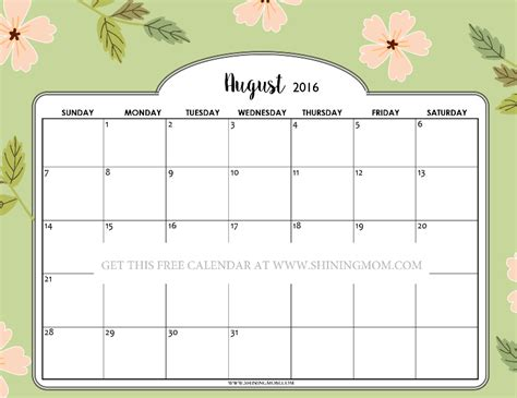 printable calendar pretty pretty printable calendars for august 2016