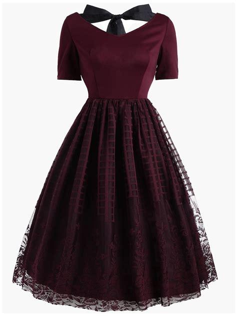 Dress Brokat Flowers Antiiqa 1 wine 2xl vintage bowknot floral plaid lace dress rosegal