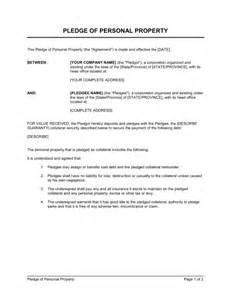 personal guarantee template uk pledge of personal property template sle form