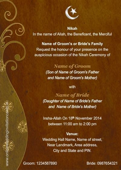 muslim marriage invitation card sle festival tech com
