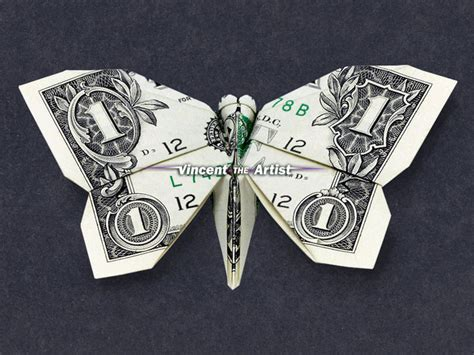 Butterfly Dollar Bill Origami - butterfly money origami animal insect vincent the artist