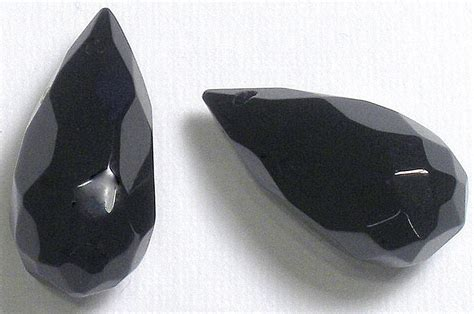 2 black onyx gemstone faceted briolettes aaa grade approx