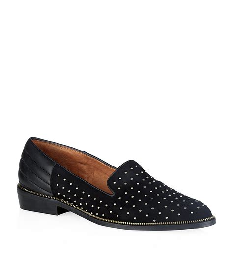 the kooples slippers the kooples suede stud slippers in black lyst