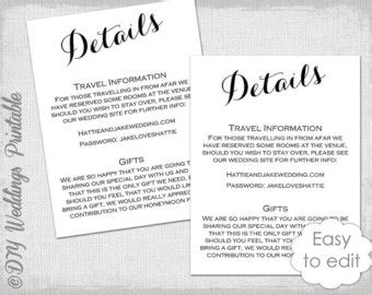 wedding information card template wedding reception invitation template diy gold
