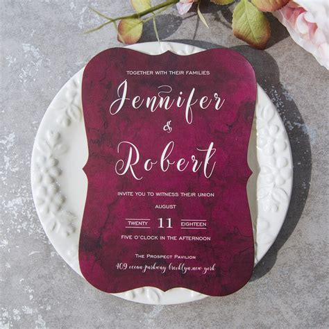 Inexpensive Modern Wedding Invitations by Cheap Modern Burgundy Bracket Wedding Invitations Ewib422