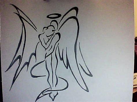 tattoo angel and devil designs angel devil hug tattoo design