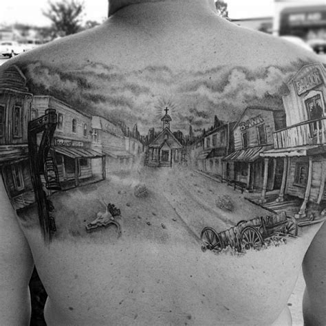 old western tattoo designs 3d like big black and white western town on