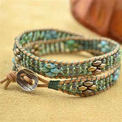 wrap bead bracelet tutorial superduo bead wrapped leather cord bracelet tutorial the
