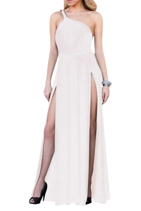 Dress Import One Shoulder 1712 white high slit backless one shoulder dress pink