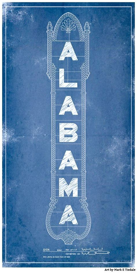 alabama theatre marquee blueprints vintage art print