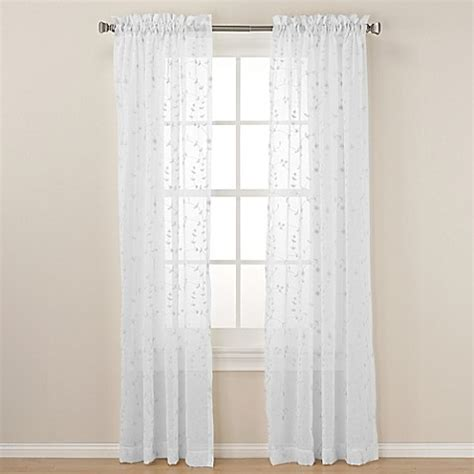 63 White Curtains Buy Caspia 63 Inch Rod Pocket Sheer Window Curtain Panel In White From Bed Bath Beyond