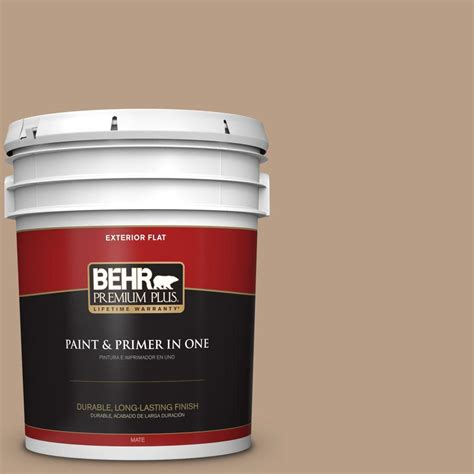 behr premium plus 5 gal icc 52 cup of cocoa flat exterior paint 440005 the home depot