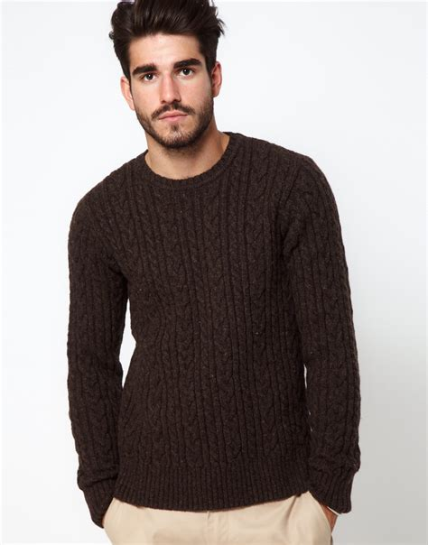 brown cable knit jumper edwin cable knit jumper with crew neck in brown for lyst