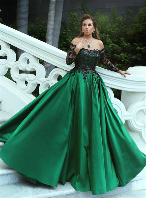 shoulder green satin prom ball gowns  black