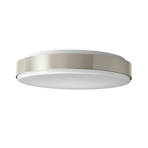 Hton Bay 15 In Brushed Nickel Led Round Ceiling Flush Home Depot Flush Ceiling Lights