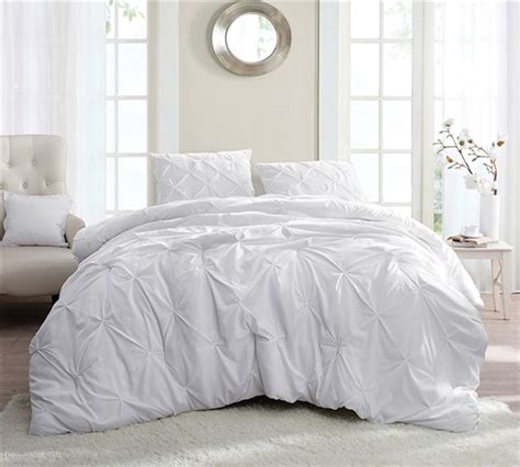 White Pin Tuck Full Comforter White Xl Bedding