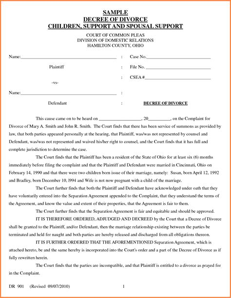 divorce template divorce decree template free printables