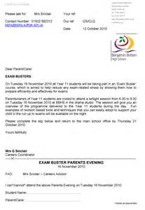 letter re exam parents evening benjamin britten high