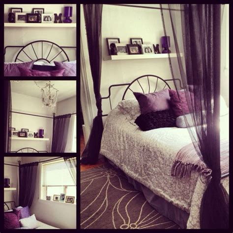bedroom purple black grey  white  stuff