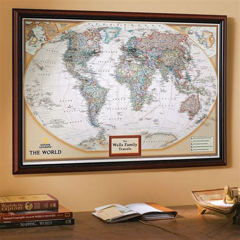 how to hang a map without a frame my world personalized map earth toned national