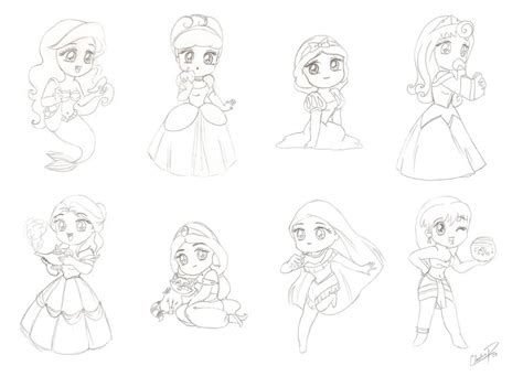 coloring pages of chibi disney princesses chibi manga disney princess by madmoiselleclau on deviantart