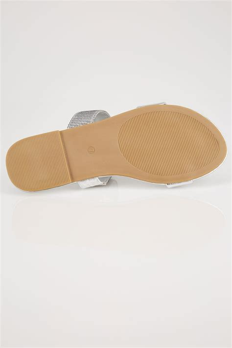 Anya V2 Patent Lower Heel silver slider sandals in eee fit