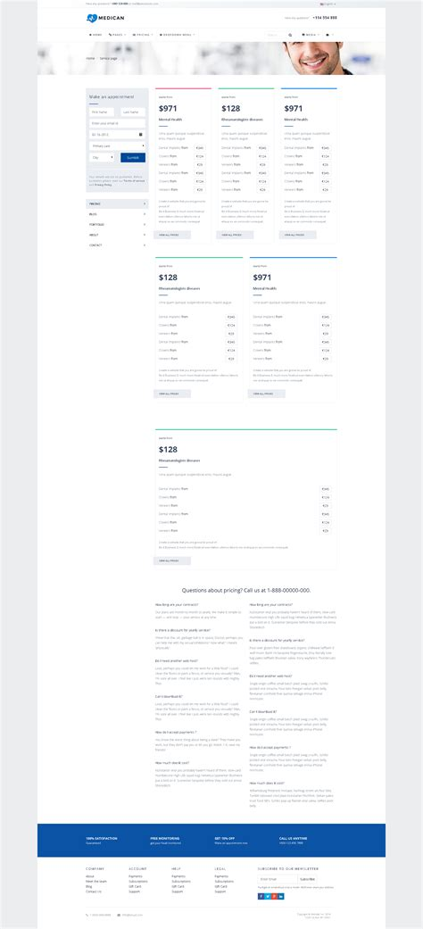 hospital menu template medican health booking hospital template by