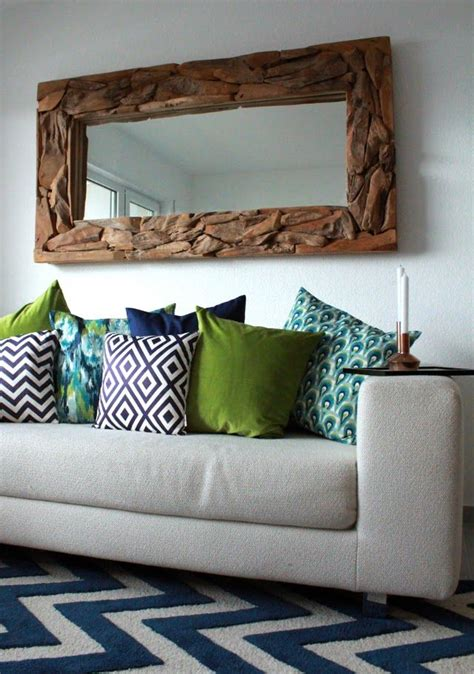Turquoise Pillows Living Room Living Room Update Wooden Mirror And Pillow Mix Match