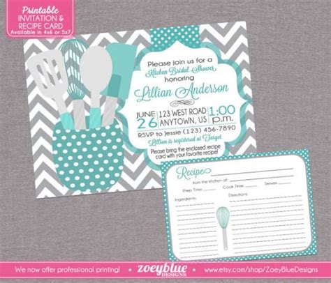 bridal shower recipe invitations stock the kitchen bridal shower invitation with recipe card printable blue grey chevron