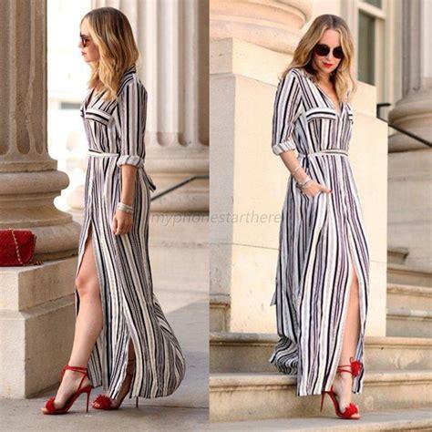 casual sleeve tunic maxi dress shirt black white striped dress ebay