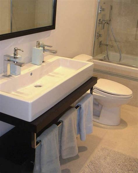 Ideas Design For Bathroom Trough Sink Gorgeous Duravit Sink In Bathroom Modern With Narrow Sink Next To Hanging Towels Alongside