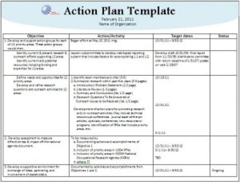 top 6 free action plan templates word templates excel
